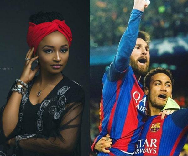 sadau Jaruma Rahama Sadau Tace Tanason Yan Wasan Kwallon kafar Barcelona Messi da Neymar