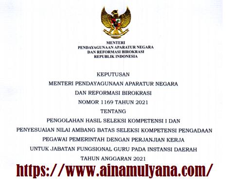 Kepmenpan RB Nomor 1169 Tahun 2021 Tentang Perubahan atau Penyesuaian Nilai Ambang Batas Seleksi Kompetensi PPPK Guru Tahun 2021