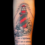forearm lighthouse lettering - tattoo meanings