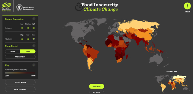 Screenshot of the Food Insecurity and Climate Change interactive map, created by the Met Office Hadley Centre and the World Food Programme. The selected settings show the worst-case scenario, with high CO2 emissions and no adaptation globally. Graphic: Met Office