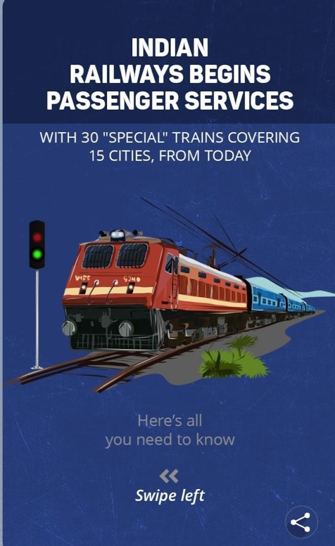 INDIAN RAILWAYS BEGINS PASSENGER SERVICES
