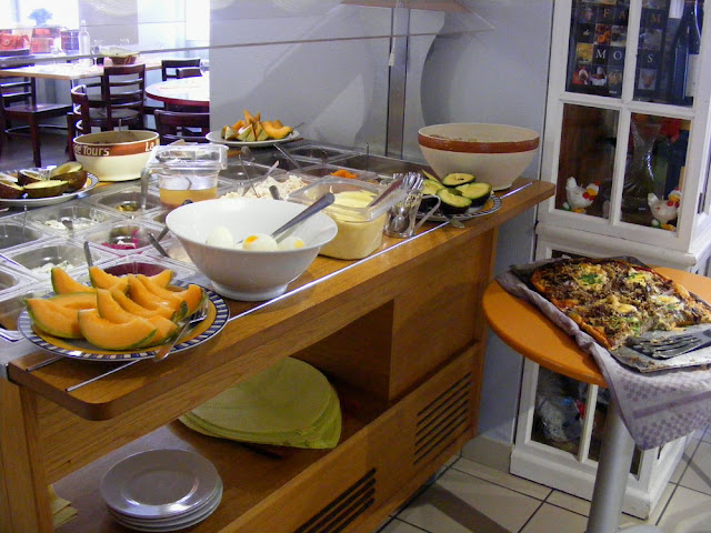 Starters buffet at a workers restaurant, Indre et Loire, France. Photo by Loire Valley Time Travel.
