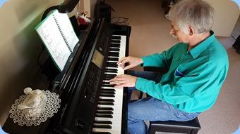 Claude Moffat enjoying some improvisation on the Yamaha Clavinova CVP-709.