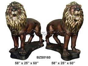 Bronze, Lion, Pair, Standing, Statue