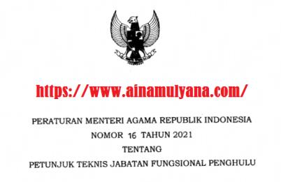Peraturan Menteri Agama PMA Nomor 16 Tahun 2021 Tentang Petunjuk Teknis Juknis Jabatan Fungsional Penghulu