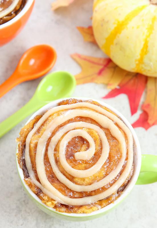 overhead photo of a Pumpkin Cinnamon Roll Mug Cake