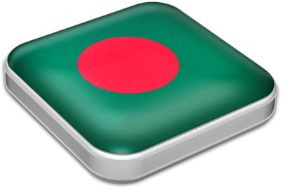 Flag of Bangladesh with metallic square frame