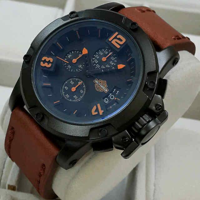 Jual jam tangan Harley davidson chrono aktif kulit dm 4,8cm