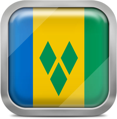 Saint Vincent and the Grenadines square flag with metallic frame