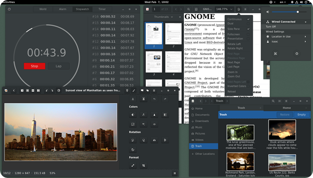 GNOME_v3.22_--_running_Clocks,_Evince,_gThumb,_GNOME_Files