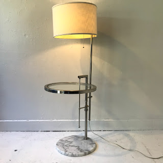 Chrome and Marble Lamp Table