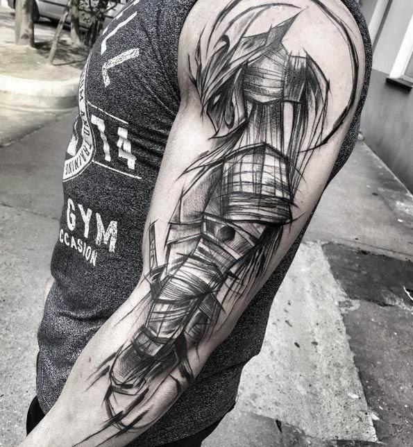 este_esboço_estilo_guerreiro