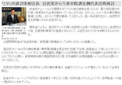 ブラック企業で有名な居酒屋ワタミの渡辺美樹会長(53)が自民党から出馬を検討