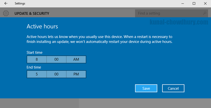 Active Hours in Windows 10 Update Settings (www.kunal-chowdhury.com)