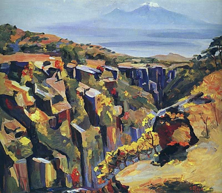 Martiros Saryan - Cliff in the slope of Aragats, 1958