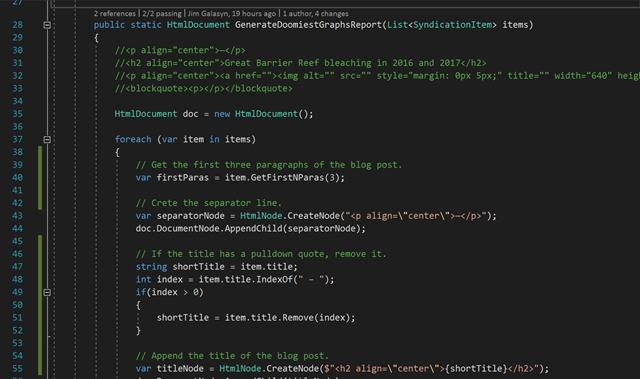 Screenshot of the Desdemona Indexer code, displayed in Microsoft Visual Studio. Graphic: Desdemona Despair