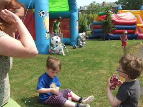 Photo: All having a drink after a work out on the bouncy castle
