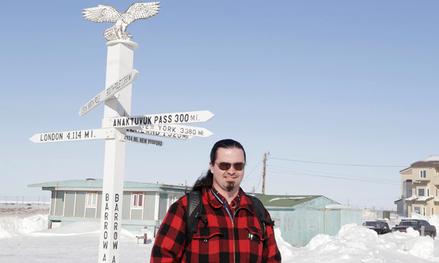Nagruk Harcharek in Utqiaġvik, Alaska. Nagruk is the station manager at the Barrow Arctic Research Center and has lived in Utqiaġvik all his life. Photo: Oliver Milman / The Guardian