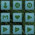 Green On Turquoise Wooden Icons icon