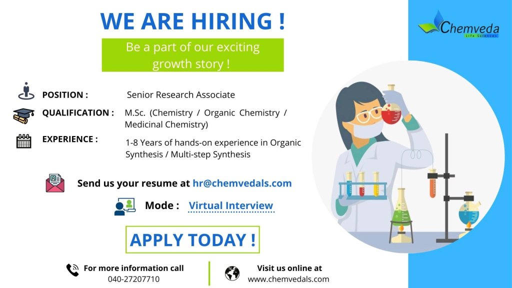 Virtual Interview By Chemveda API R&D For Research Associate