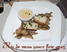 Ris de veau poeles et pleurotes a la sauce foie gras
