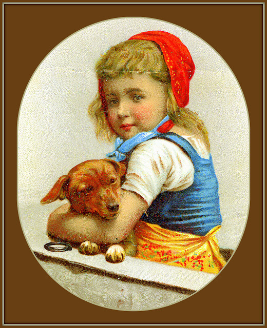 girl in red bandana wearing blue and white with gold apron cuddles small brown dog leaning on gunwale