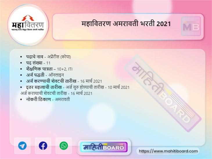 MahaVitaran Amravati Bharti 2021