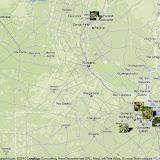 Localisation des photos du Dr Carlos Marzano en Argentine : région de Buenos Aires à l'Est, de Merlo et Villa Amancay à l'Ouest, de Santa Fe (au Nord)