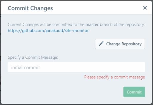 GitHub commit dialog
