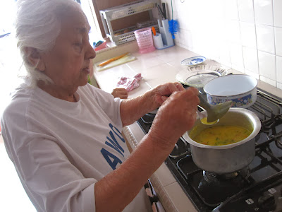 Nani, my grandmother, making dhal