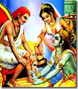 [Rukmini and Krishna with Sudama]