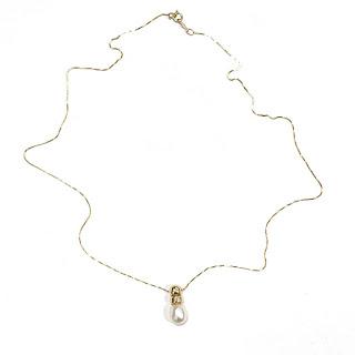 14K Gold & Pearl Pendant Box Chain Necklace