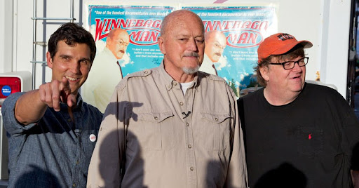 Director Ben Steinbauer, Jack Rebney and Michael Moore.