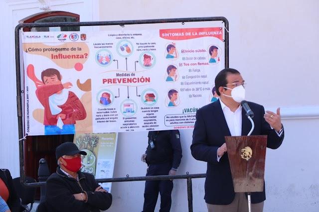 Brigadas Municipales de Huamantla entregarán más de 20 mil dípticos informativos sobre prevención de COVID-19 e Influenza.