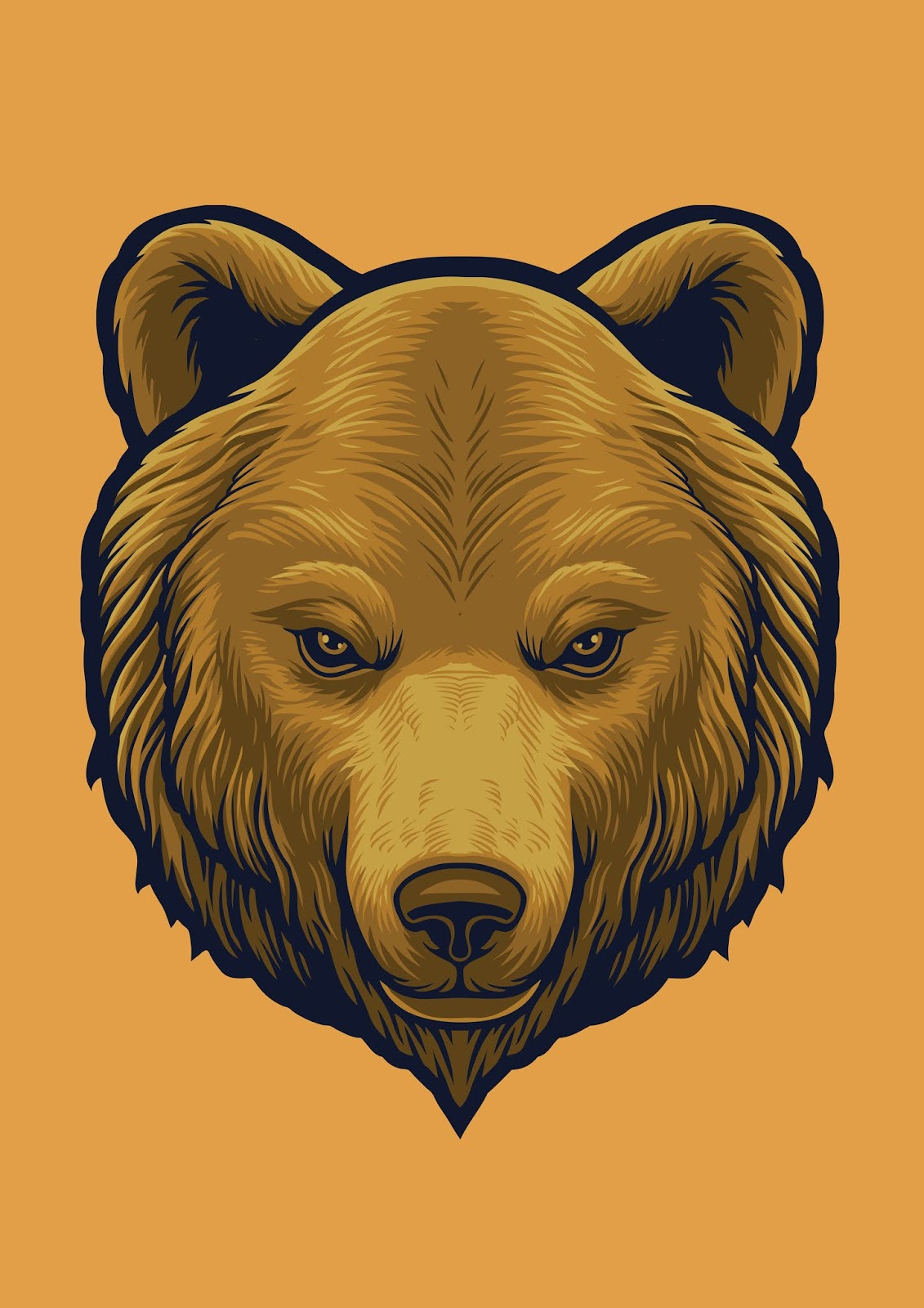 Grizzly Bear Head Design Illustration Free Download Vector CDR, AI, EPS and PNG Formats
