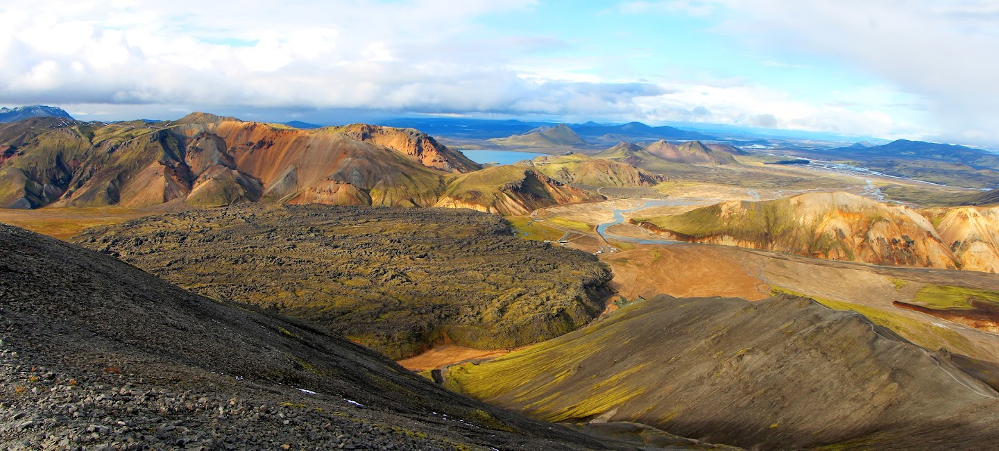 Landmannalaugar rhyolite mountains and wiev to mountain hut. Antti S.