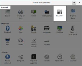 Como configurar GNOME con detalle. Configuración personal. Privacidad.