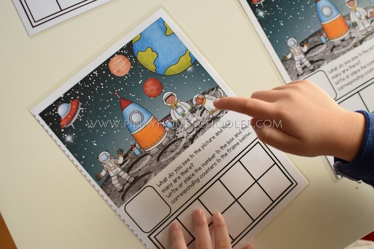 Space Themed Ten Frames for Counting and Writing Numbers
