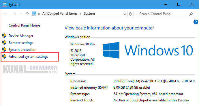 Windows 10 System Information Page (www.kunal-chowdhury.com)