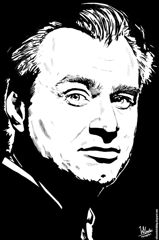 Ink drawing of Christopher Nolan, using Krita 2.4.