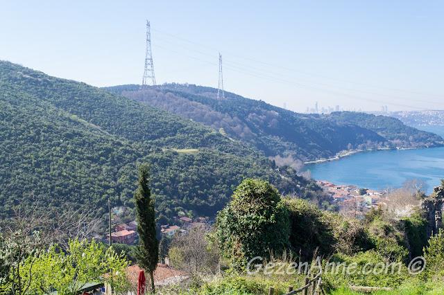Anadolu Kavağı koyu ve Yoros karşısındaki yeşil dağalar