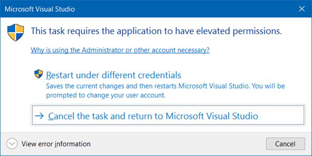 Mensagem do Visual Studio solicitando executar como administrador para depurar site no IIS