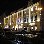Slovanský dům - noční pohled s vánoční výzdobou