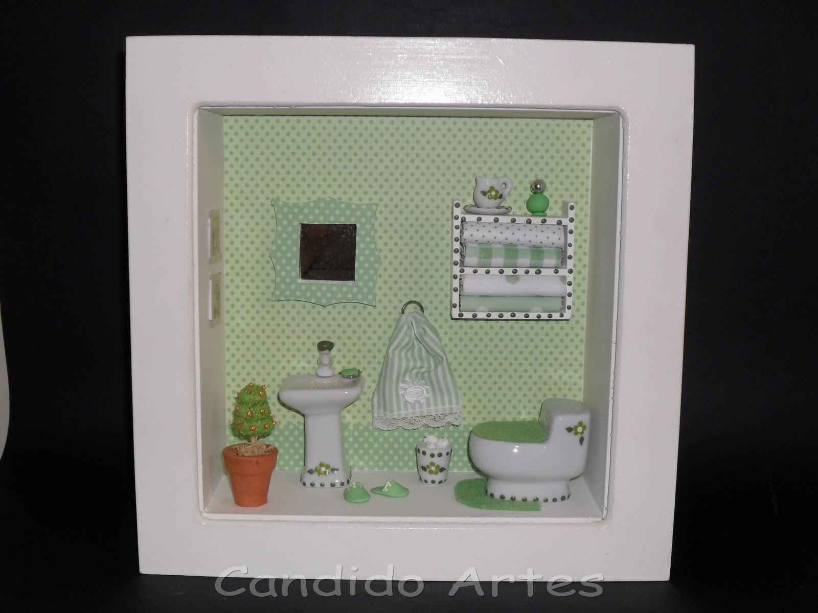 Artesanato Candido Artes: Quadro miniatura de banheiro poá verde #86482F 1600 1200