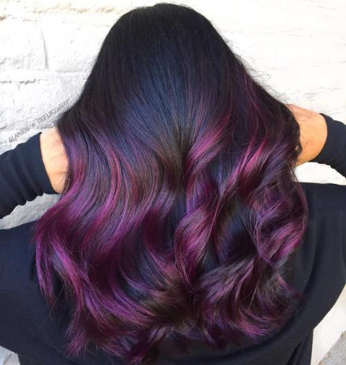 Plum hair color a beautiful contrast for woman 2018 7