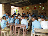 A temporary classroom at the project secondary school
