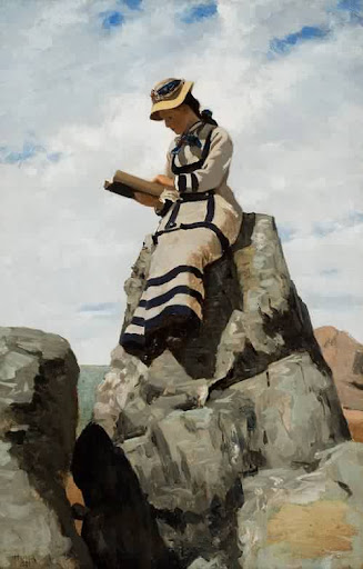 John George Brown - Reading on the Rocks Grand Manan 1877
