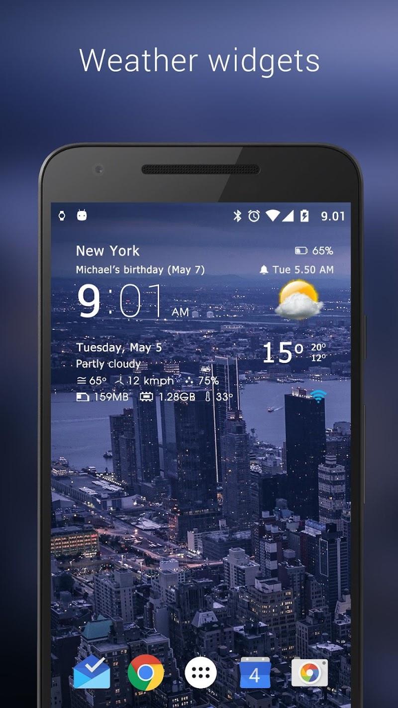 Transparent clock weather Pro Screenshot