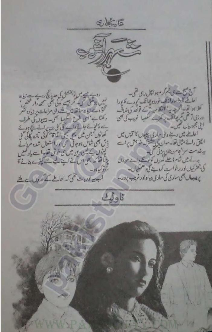 Shehr e Aashob is writen by Alia Bukhari. Shehr e Aashob is Social Romantic story, famouse Urdu Novel Online Reading at Urdu Novel Collection. Alia Bukhari is an established writer and writing regularly. The novel Shehr e Aashob Complete Novel By Alia Bukhari also
