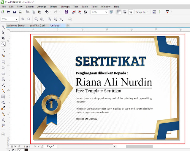 Ready To Print : Download Sertitikat CDR Coreldraw Elegant Emas